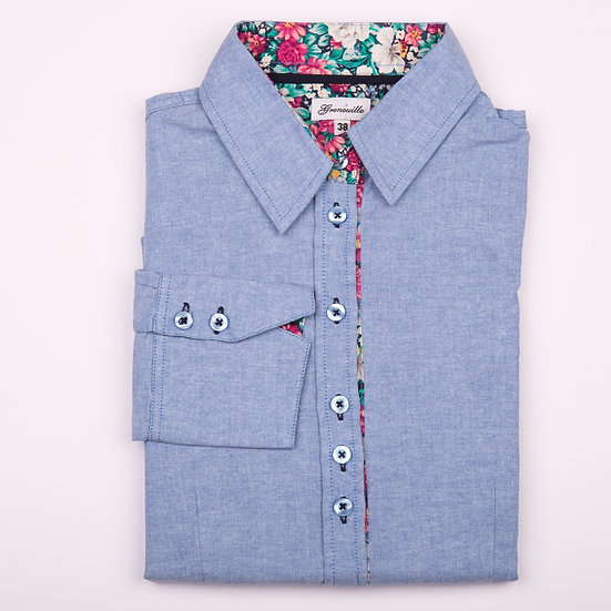 Blue oxford with pink, white and green flower print insert shaped fit shirt_Folded