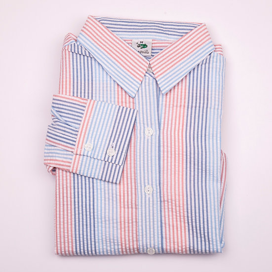 Navy, blue and red stripe seersucker long sleeve relaxed fit shirt_Folded