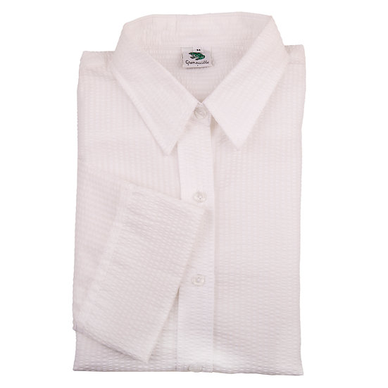 Ladies white seersucker cotton - 3/4 sleeve fitted shirt