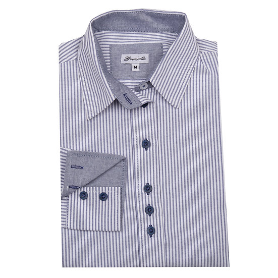 Ladies Grenouille blue/grey striped Oxford shirt  - Relaxed fit