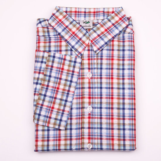 Red and navy cowboy style check seersucker 3/4 sleeve relaxed fit shirt_Folded