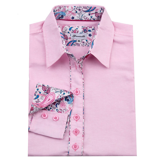 Pink oxford with cerise pink and blue paisley insert detail relaxed fit shirt_Folded