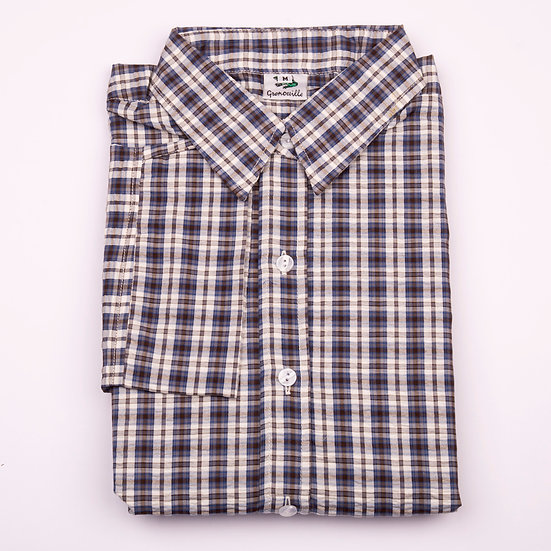 Navy and brown check seersucker 3/4 sleeve relaxed fit shirt_Folded