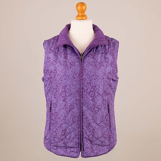 Violet and grape flower reversible diamond gilet_Flower side