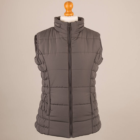 Plain charcoal grey hooded gilet
