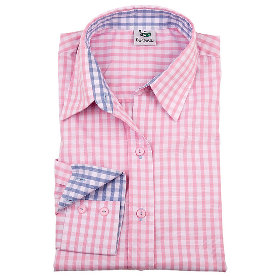 Ladies pink & white checked shirt  - Relaxed fit - 2282 pink