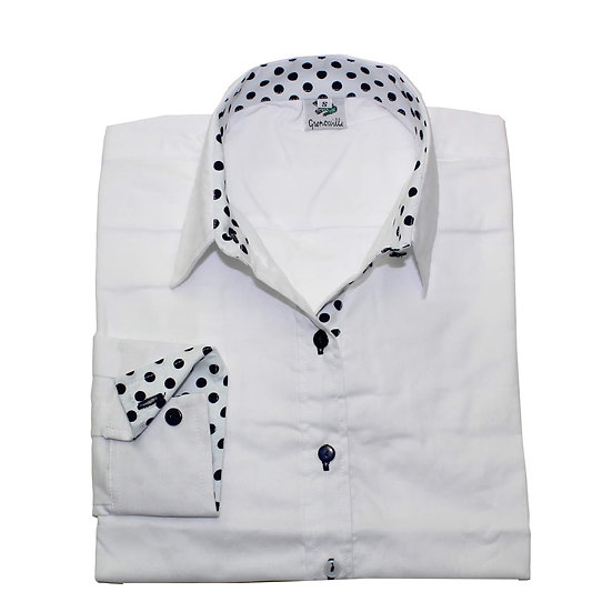 White oxford cotton with white with navy polka dot detail inserts relaxed fit shirt_Folded