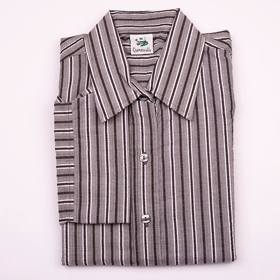 Black, grey and silver stripe seersucker 3/4 sleeve relaxed fit shirt_Folded