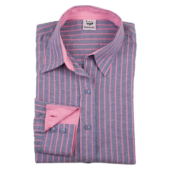 Ladies Grenouille blue & pink striped Oxford shirt - Relaxed fit