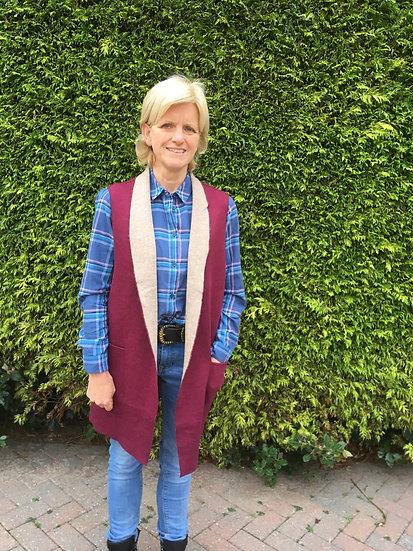 Ladies Grenouille long waistcoat -burgundy