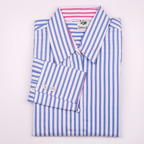 Blue and white stripe twill with pink stripe insert long sleeve relaxed fit shirt_Folded