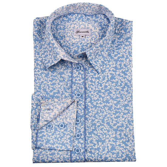 Blue with small white flower with white and blue contrast relaxed fit shirt_Folded