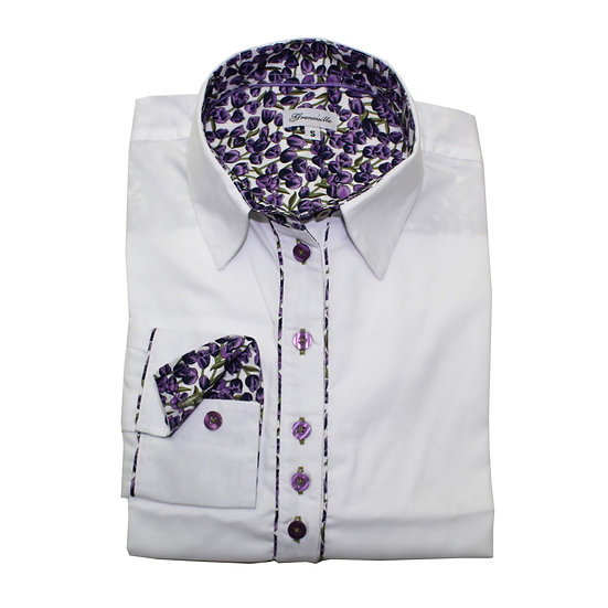 White oxford with purple tulip insert detail relaxed fit shirt_Folded