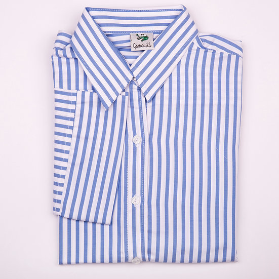 Blue and white stripe twill 3/4 sleeve relaxed fit shirt_Folded