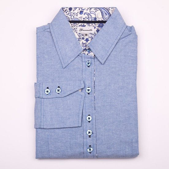 Blue cotton oxford with blue paisley inserts shaped fit shirt_Folded