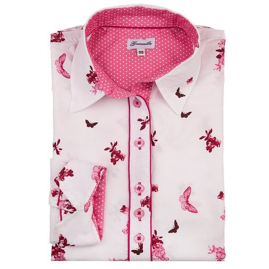 Pink butterfly and flower border print shaped fit shirt_Folded