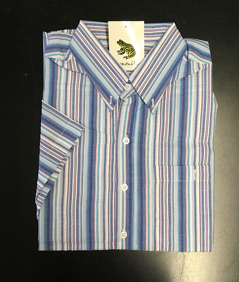 Men's blue, light blue and white stripe seersucker - Men's short sleeve