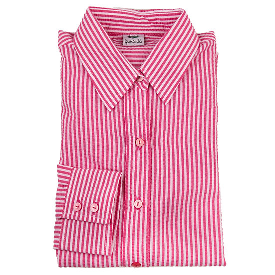 Cerise pink and white stripe seersucker long sleeve relaxed fit shirt_Folded