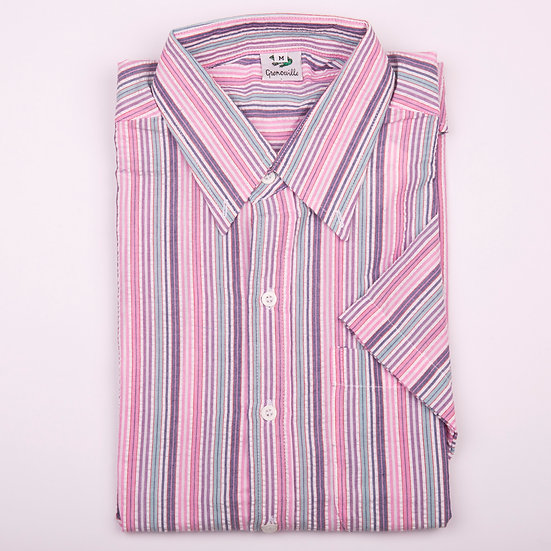 Pink, purple and aqua blue multi stripe seersucker men's short sleeve shirt