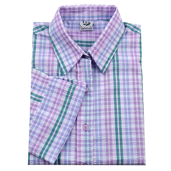 Ladies blue, lilac and green striped seersucker 3/4 sleeve shirt - 1572/5