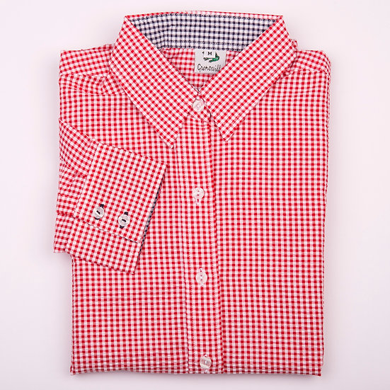 Red gingham check with navy gingham insert seersucker long sleeve relaxed fit shirt_Folded