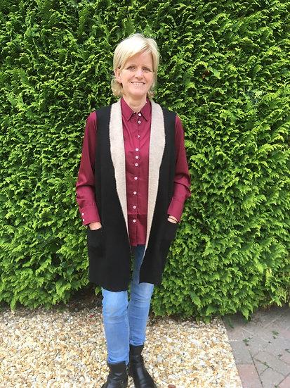 Ladies Grenouille long waistcoat - black