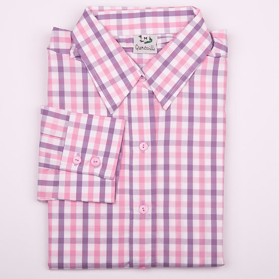 Purple and Pink Check Easy Care Shirt Relaxed Fit_Folded