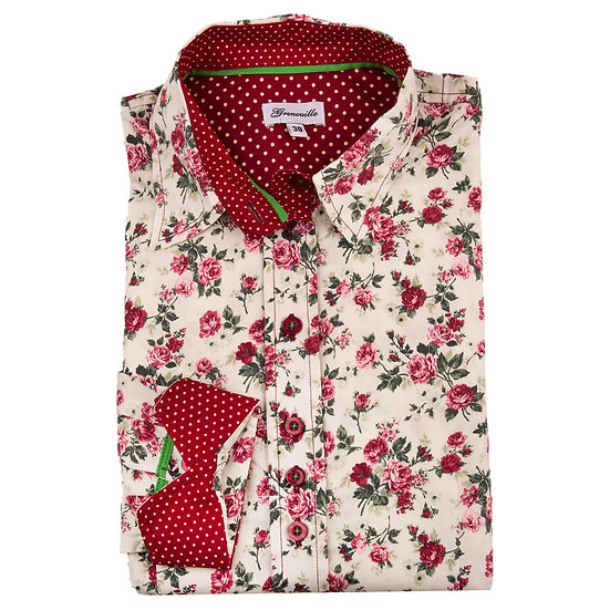 Cream with small red rose print shaped fit shirt_Folded