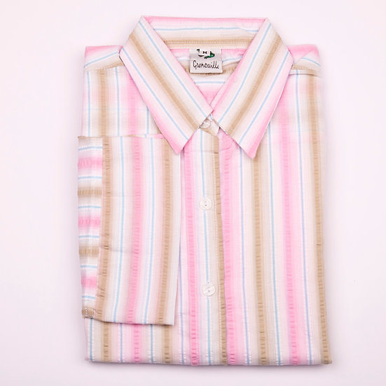 Beige, pink and white stripe seersucker 3/4 sleeve relaxed fit shirt_Folded