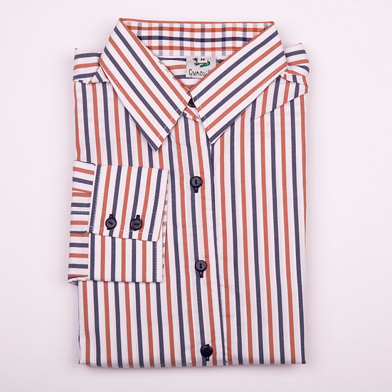 Brown and navy stripe easy care relaxed fit shirt_Folded