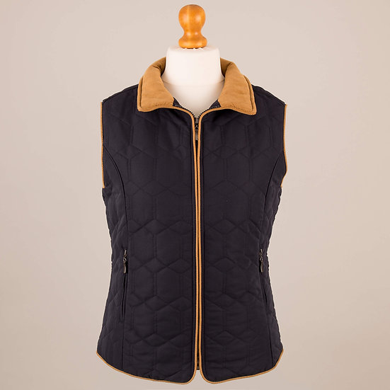 Navy with tan corduroy trim diamond gilet