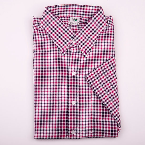 Purple and pink check seersucker men's short sleeve shirt