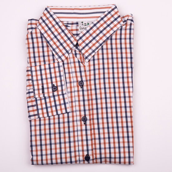 Brown and navy check easy care relaxed fit shirt_Folded