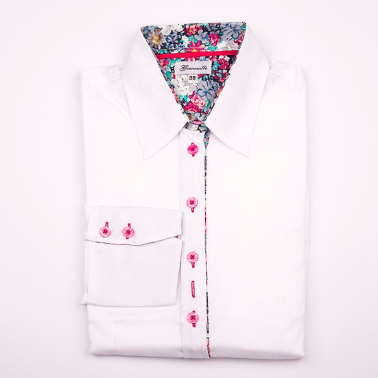 White oxford with Pink, White and Green Flower Inserts shaped fit shirt_Folded