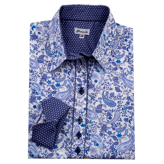 Blue paisley with blue with white spot insert detail shaped fit shirt_Folded
