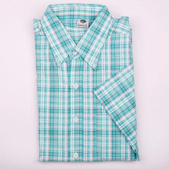 Mint check seersucker men's short sleeve shirt