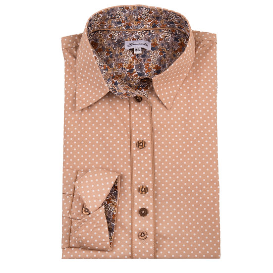 Camel with white spot with contrasting beige and blue flower insert shaped fit shirt_Folded