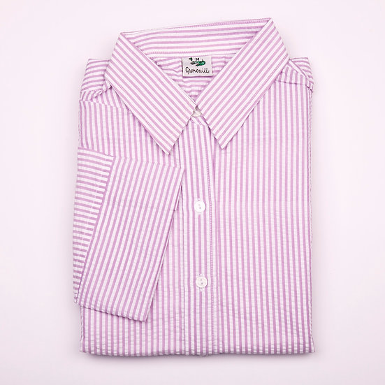 Lavender and white stripe seersucker 3/4 sleeve relaxed fit shirt_Folded