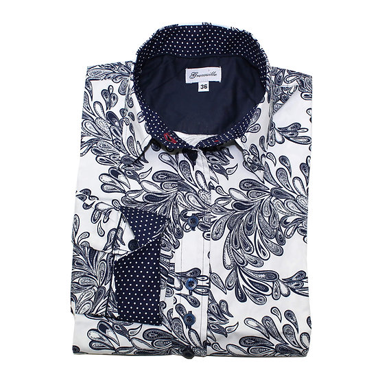 Navy paisley with navy and white spot insert details shaped fit shirt_Folded