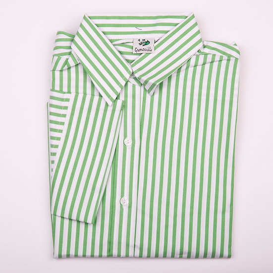 Green and white stripe twill 3/4 sleeve relaxed fit shirt_Folded