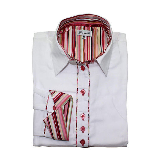 White oxford with maroon and dusky pink multi stripe inserts shaped fit shirt