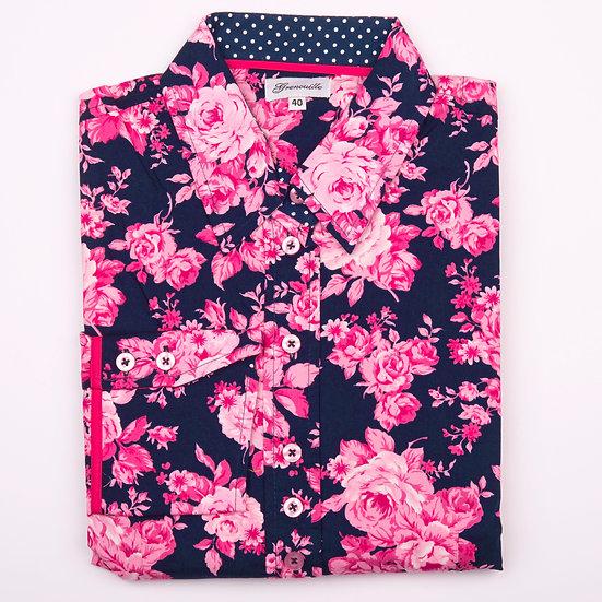 Navy with cerise pink rose design shaped shirt_Folded