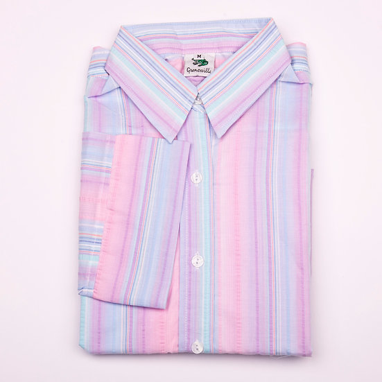 Pink, lilac and blue pastel multi stripe seersucker 3/4 Sleeve relaxed fit shirt_Folded
