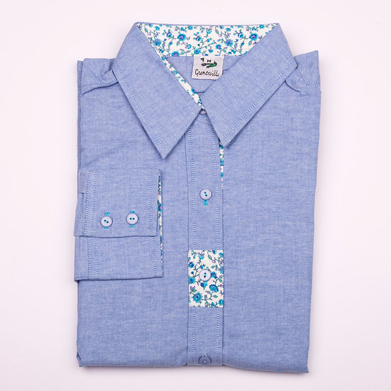 Blue oxford with blue flower detail insert relaxed fit shirt_Folded