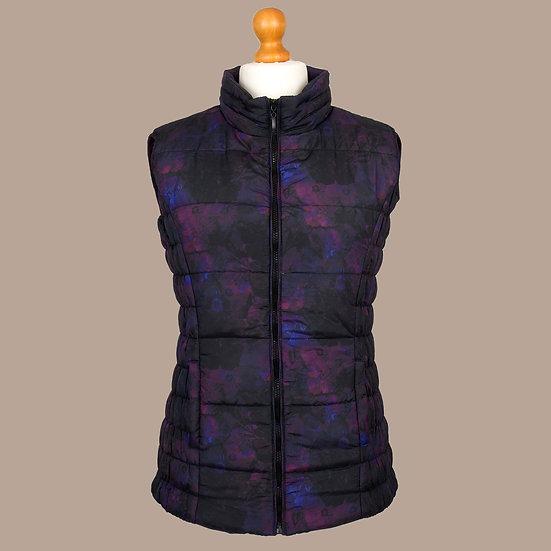 Digitally printed abstract purple primrose hooded gilet