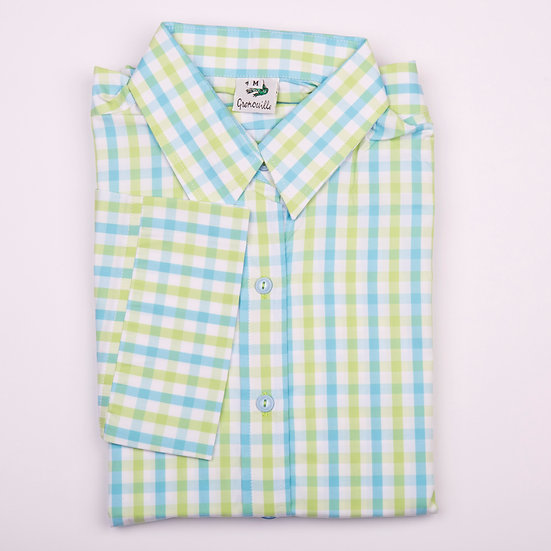 Ladies 3/4 Sleeve Lime Blue Check - Relaxed Fit