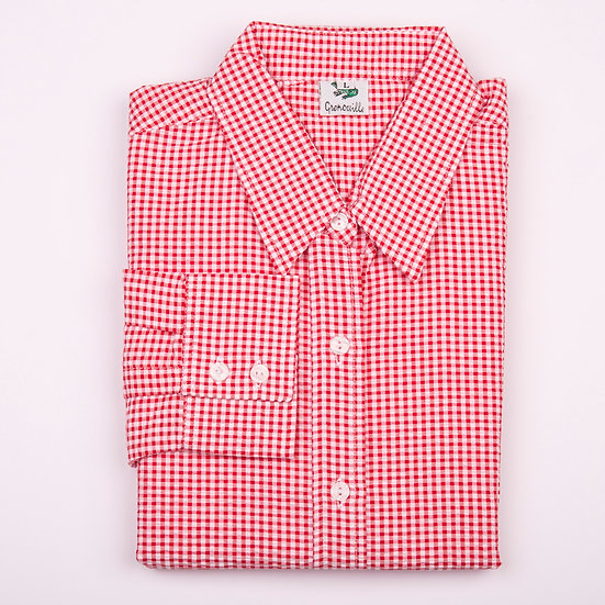 Red check gingham seersucker long sleeve relaxed fit shirt_Folded