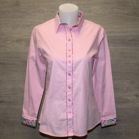 Ladies pink shirt with button inserts - shaped fit