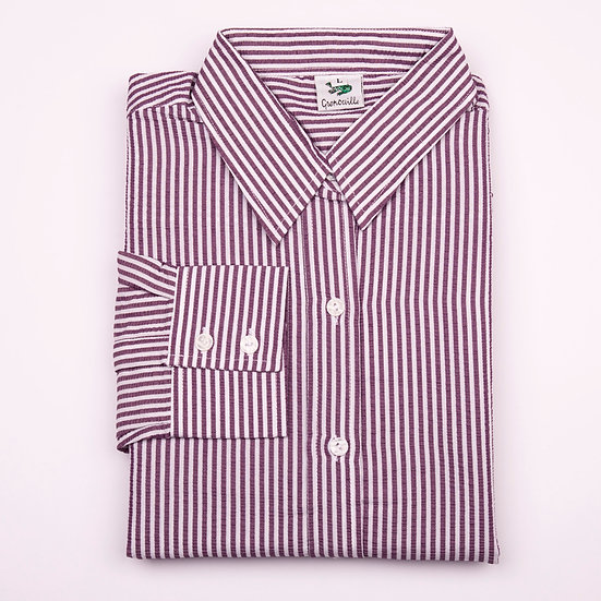 Purple and white stripe seersucker long sleeve relaxed fit shirt_Folded