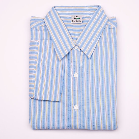 Blue and yellow stripe seersucker 3/4 sleeve relaxed fit_Folded